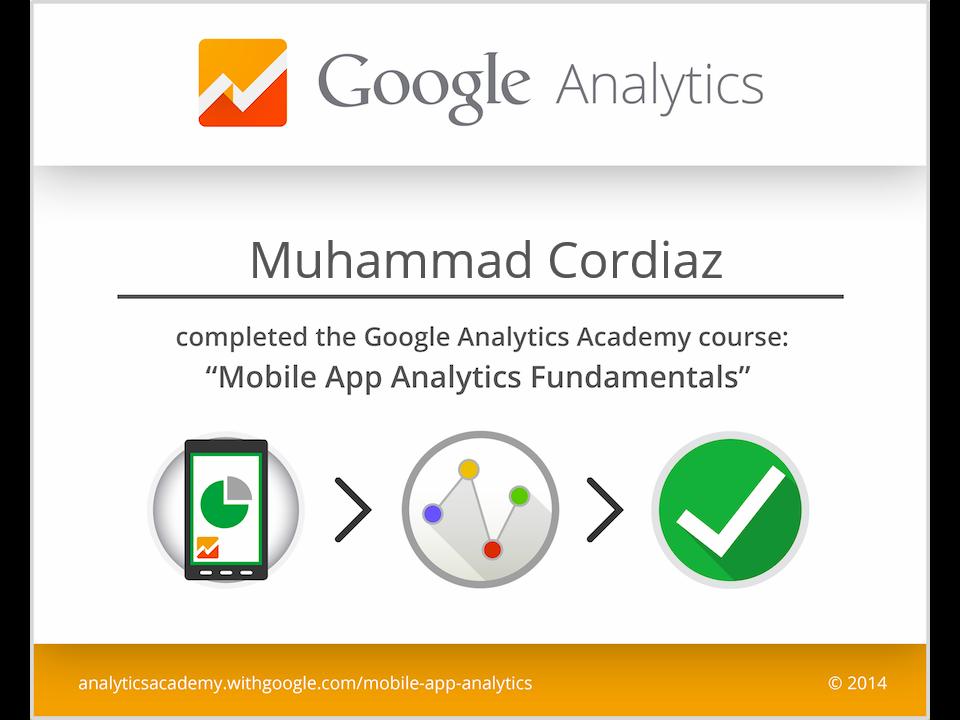 Sertifikat Mobile App Analytics Fundamentals