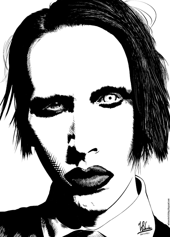 Ink drawing of Marilyn Manson, using Krita 2.5.