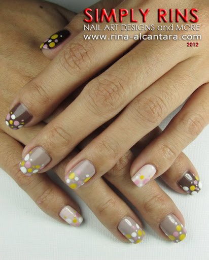 Brown Ombre and Dots Nail Art Design