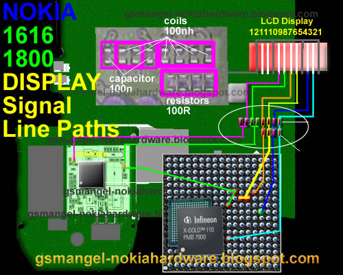 Mobile Diagram With Repairing Hardware  Nokia 1616 1800 Lcd Display Jumper Ways