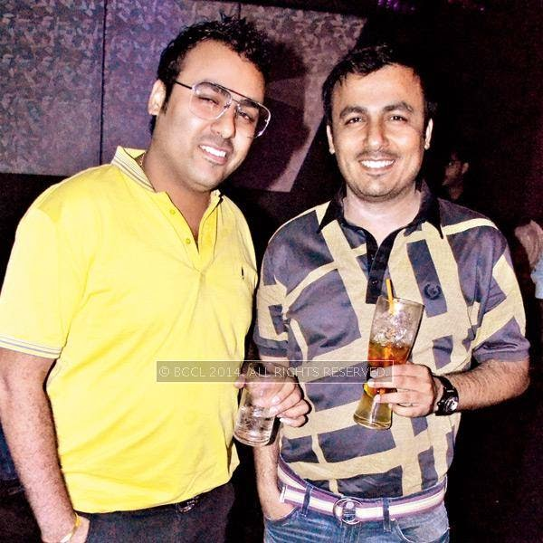 Mukesh (L) and Sumit Bodani during a party thrown by Sumit Chawla and Raveena in Kanpur.