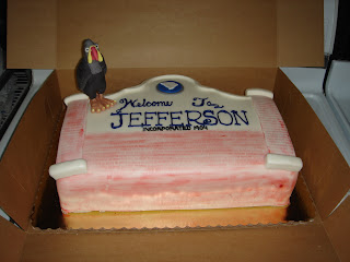 Welcome to Jefferson SC town sign custom fondant Groom's cake with buzzard sugar sculpture