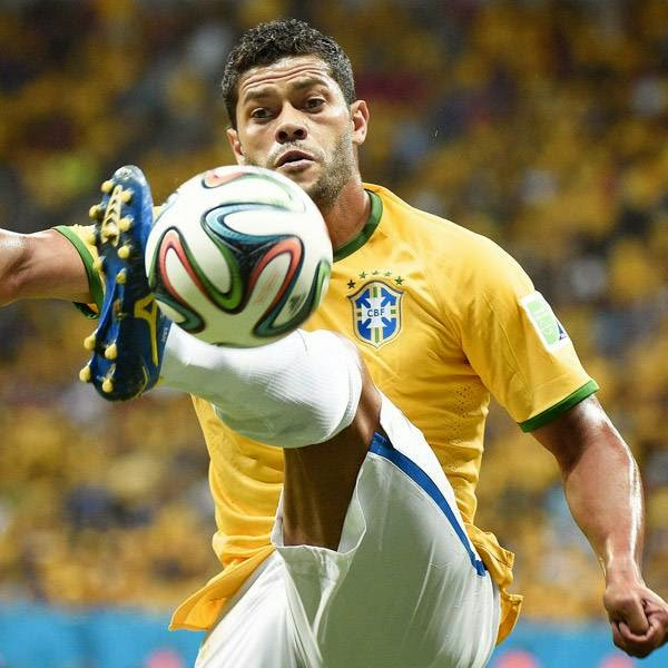 Brazil's forward Hulk controls the ball during the third place play-off football match between Brazil and Netherlands during the 2014 FIFA World Cup at the National Stadium in Brasilia on July 12, 2014