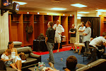 the locker room at LP field...Trace is playing on the monitor and we have on full attention on.......