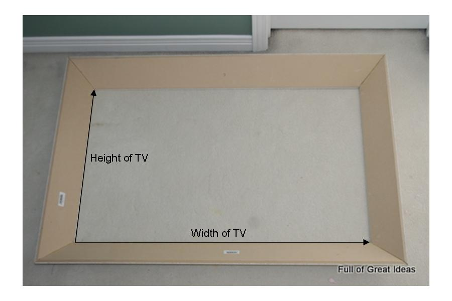 we placed it over the tv to determine how much of a gap remained between the frame and the wall we had a 2 inch gap so we used a piece of