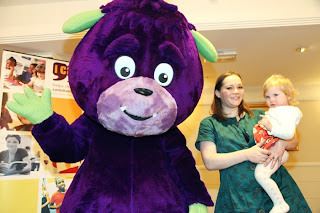 Emma  in bromley and Maegan Clement meeting Nick Jr's Humf at the I CAN mad chatter's tea party 2013