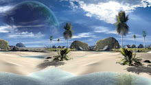 landscapes beach trees planets tropical creative 3d render 1920x1080 wallpaper