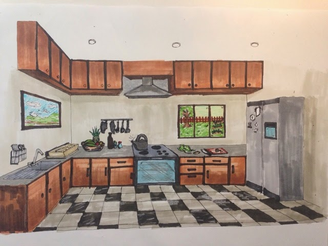 After Pencil Rendering We Have To Use Marker For The Same Kitchen Drawing