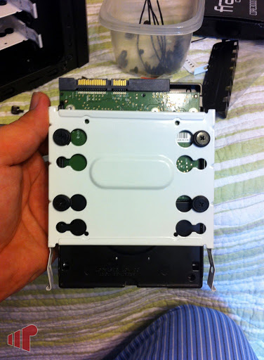 Hard drive in tray