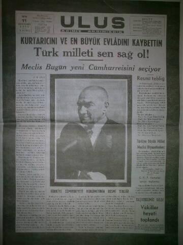 11 Kasım 1938 tarihli ulus gazetesi