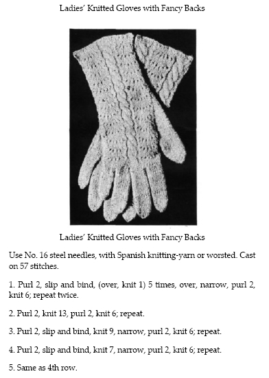 Handbook of Wool Knitting and Crochet, 1918: ladies' knitted gloves with fancy backs