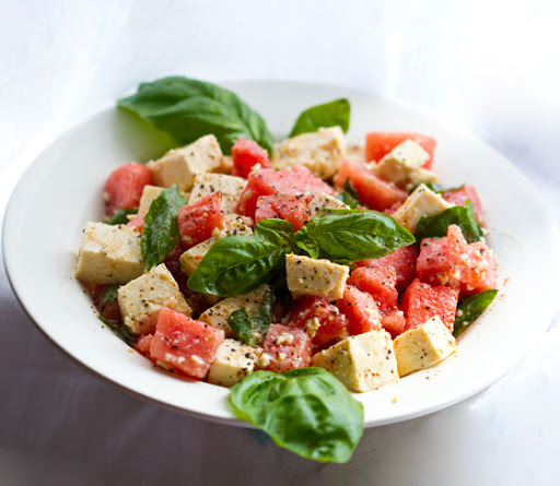 Tofu Feta, Watermelon and Basil Salad