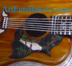 3D Gibson guitar creative modern custom 60th birthday cake with hand painted dove close up