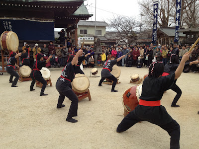 Drum performance in front of the temple