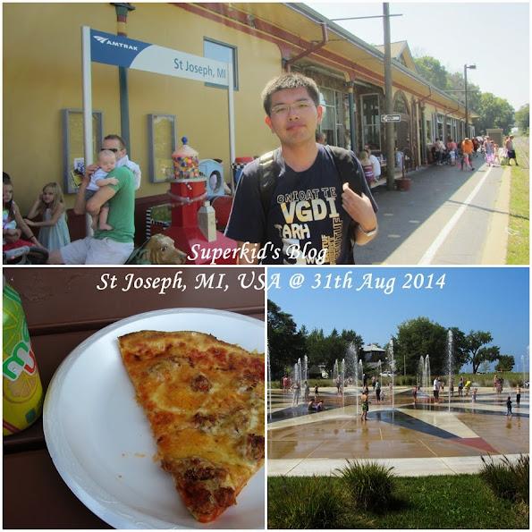 我在St Joseph火車站,享用Silver Beach Pizza!!