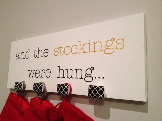 Modern Simple Wall Mounted Stocking Holder with decorative knobs - Tutorial via Mini, Mama & Co.