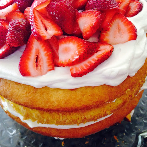Lemon layered cake with fruit, 4th of July dessert