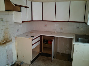 The kitchen as was on Day 1 of the project. Just be glad you couldn't smell it.