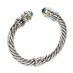 Blue Topaz Cable-Style Cuff Bracelet