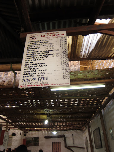 The menu at La Capitana - Arequipa