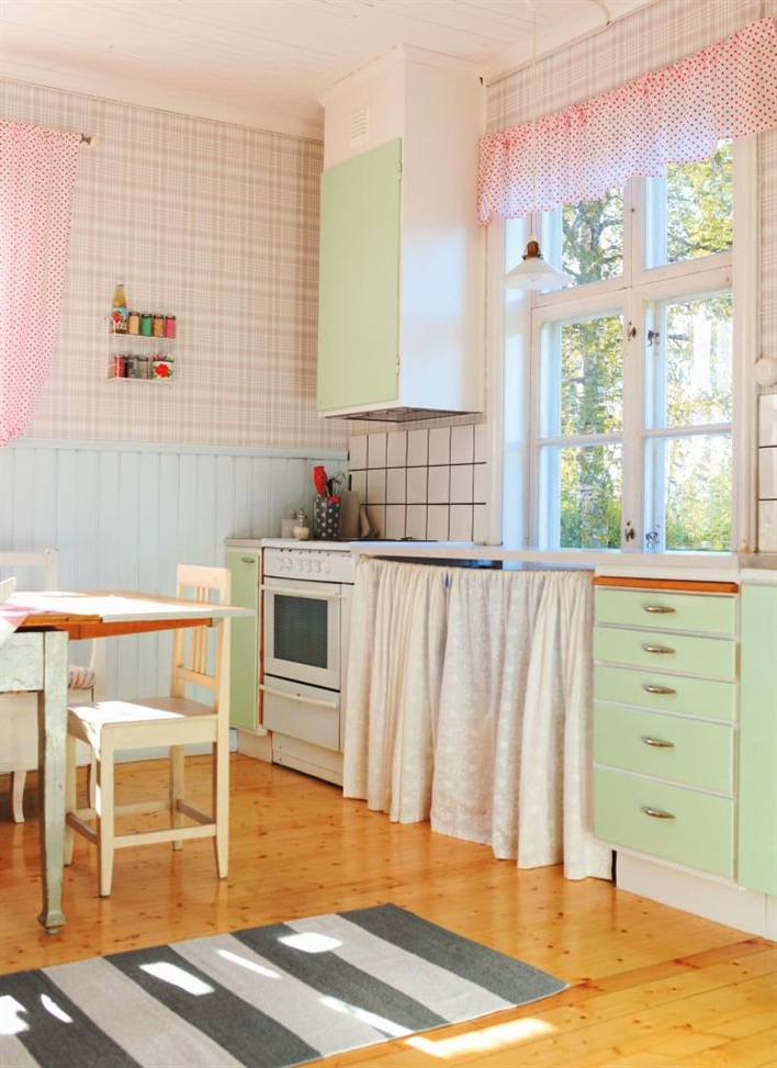 Nostalgische Keuken Accessoires : Mint Green Kitchen Cabinets