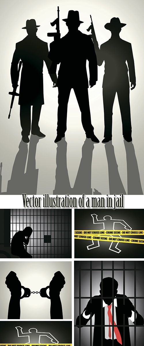 Stock: Vector illustration of a man in jail
