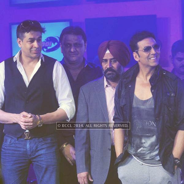 Rajat Bedi and Akshay Kumar during the launch of World Kabaddi League, held at Le Meridian, New Delhi, on July 24, 2014.