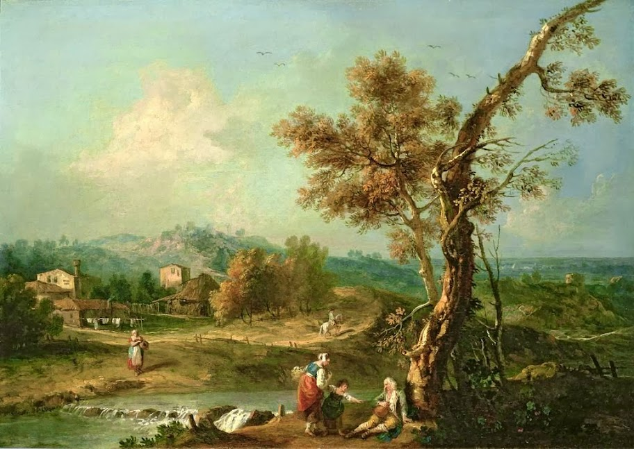 Francesco Zuccarelli - An Italian River Landscape with Travellers