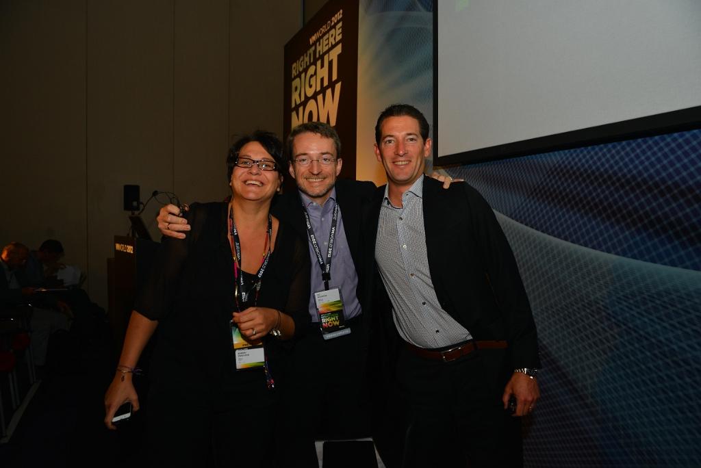 Steve Herrod, Pat Gelsinger et Kareen Frascaria, VMworld Barcelone 2012 (c) Olivier Parcollet
