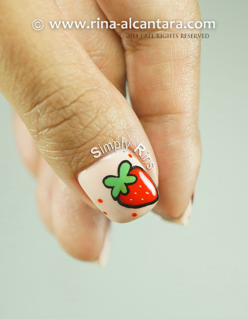 Strawberry and More Strawberries Nail Art Design