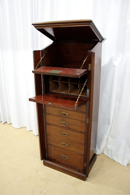 19th Century Wellington Chest Open To Show The Drawers And, In This Case, A  Writing Shelf (Antiques Atlas)