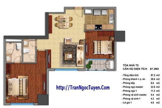 Bán chung cư Times City T5 T6 T7 căn hộ 87.2m2