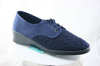 Blue canvas lace shoe, one inch sole, fancy woven top for ventilation