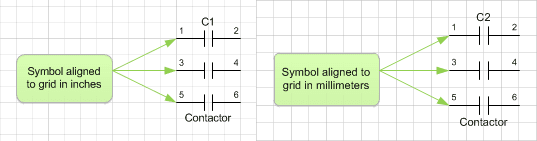Unit agnocstic symbols automatically aligned to grid irrespective of page meansurement units.