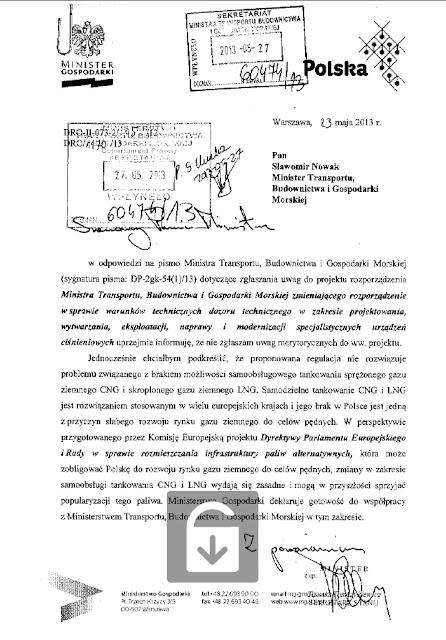 Oświadczenie Ministra Gospodarki w sprawie samodzielnego tankowania CNG i LNG