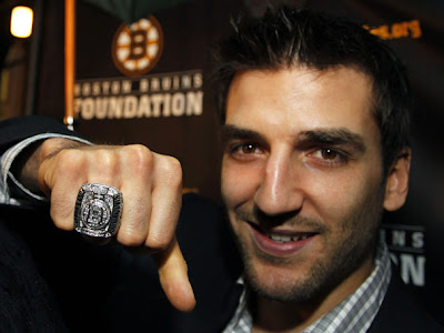 A closeup look at Patrice Bergeron with his ring