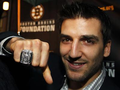 A closeup look at Patrice Bergeron with his ring