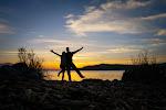 Enjoying the sunrise on the Isla de San Pedro, Yuriria Laguna, Guanajuato after rising from our hammocks