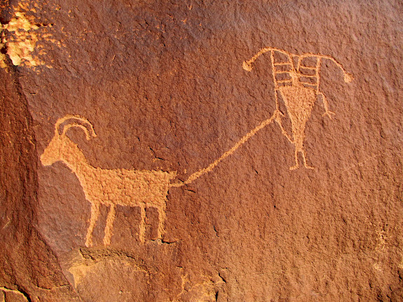 Tethered sheep, one of my favorite petroglyphs in Nine Mile