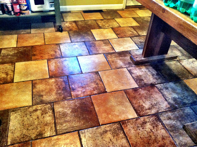 slate floor wet mop kitchen table stock photo