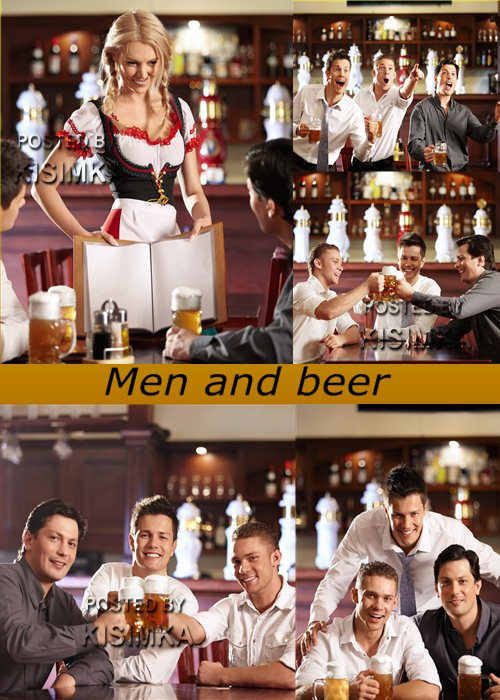 Stock Photo: Men and beer