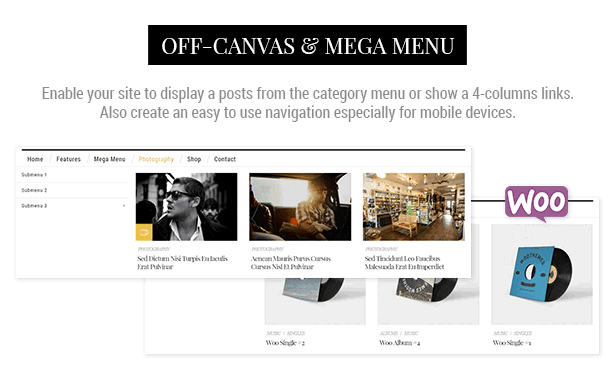 Off-canvas e megum menu
