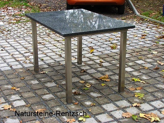 terrassentisch k chentisch gartentisch untergestell edelstahl platte granit ebay. Black Bedroom Furniture Sets. Home Design Ideas