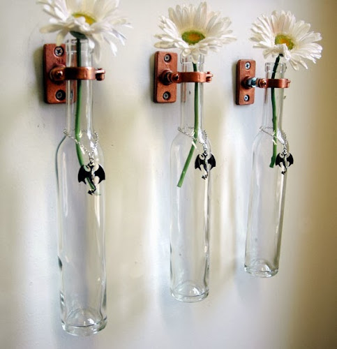 Wine bottle hanging, wine bottle vase