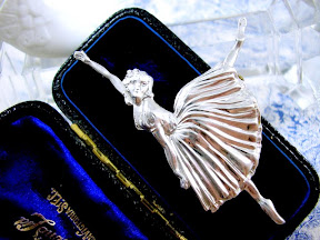 Silver Ballerina Brooch Fred Massingham 1940s Art Deco Jewelry
