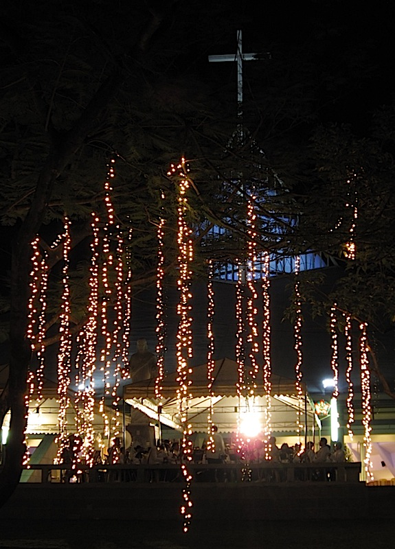 Banda Zapat performing in front of the Ateneo Church of the Gesu on the first day of Simbanggabi