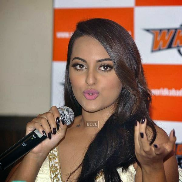 Sonakshi Sinha speaks during a press meet to announce her association with World Kabaddi League (WKL), held at hotel Novotel, on July 16, 2014.(Pic: Viral Bhayani)