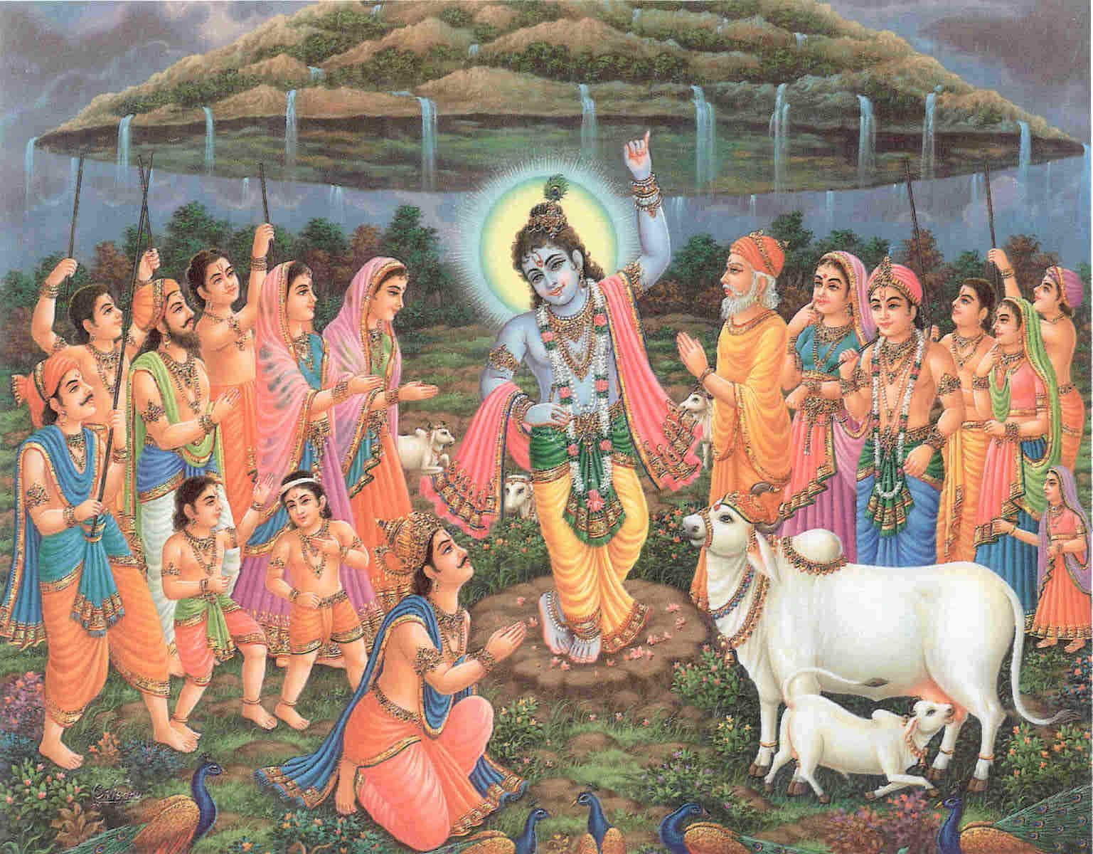 Lord Krishna Defeats Indra by Lifting Govardhan