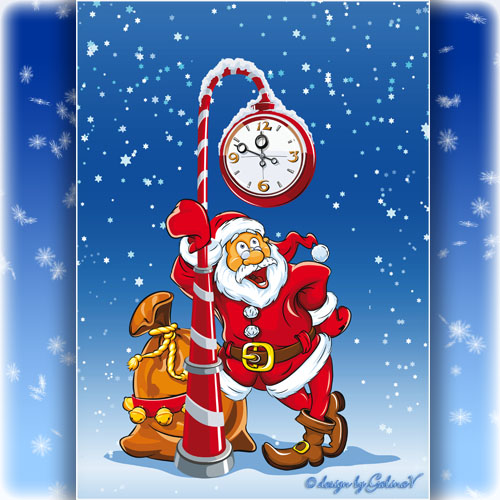 New Year PSD Source - Santa and the Clock