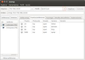Zenmap, nmap, Ubuntu o equipos y servicios en la red